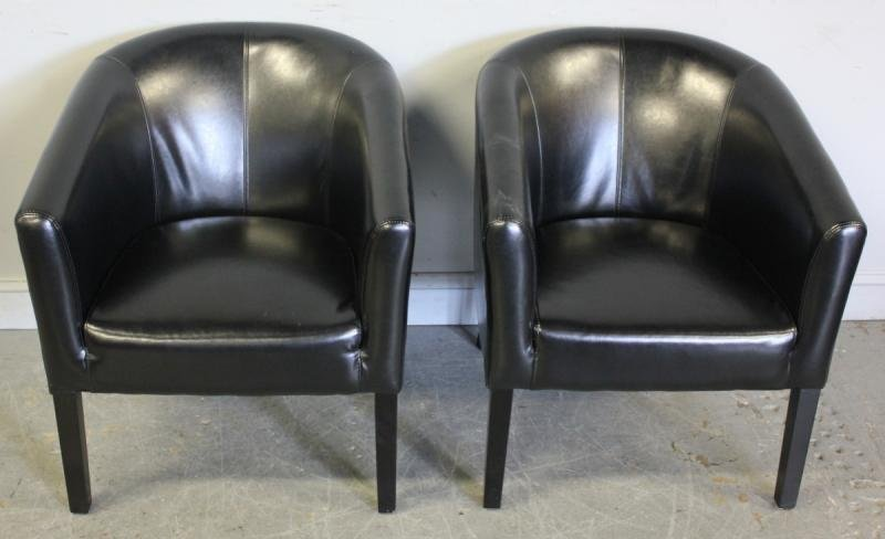 112: Pair of Leather Upholstered Midcentury Club