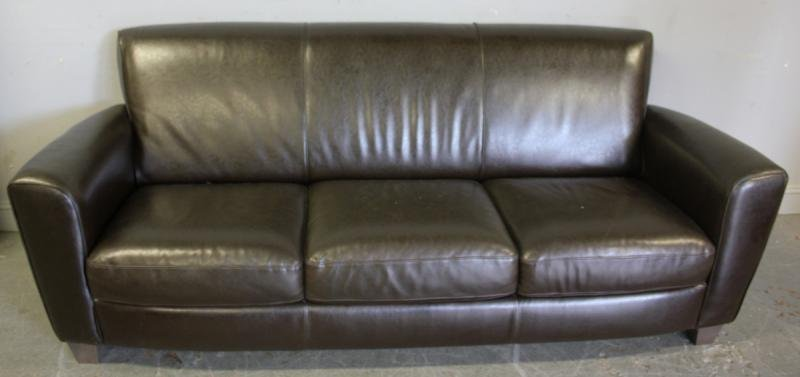 113: Leather Upholstered Contemporary Sofa.