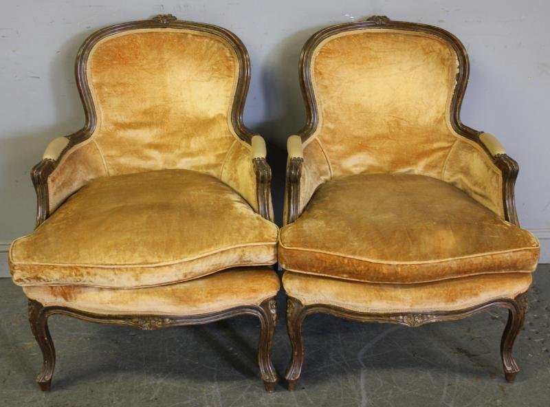 114: Pair of Louis XV Downfilled Chairs.