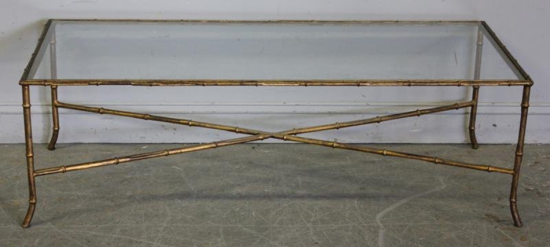 117: Gilt Metal Bamboo Form Midcentury Coffee Table.