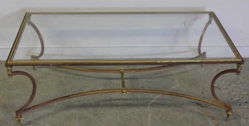 118: Midcentury Brass and Steel Glass Top Coffee Table.