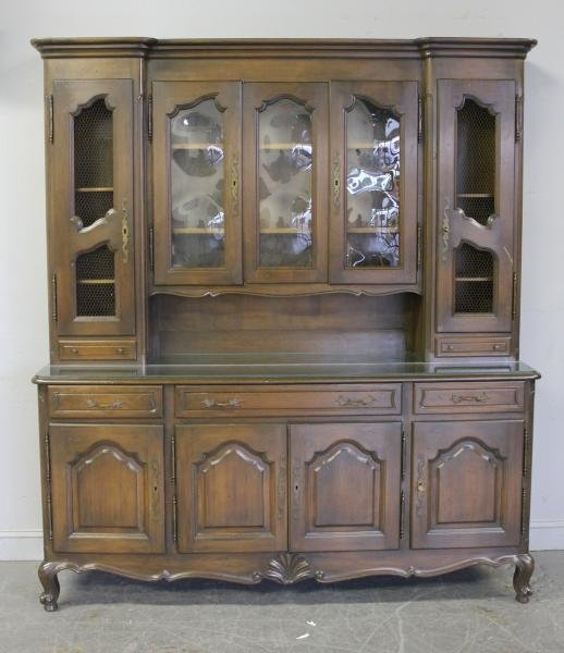 120: French Two Part Cabinet. Signed Perl.