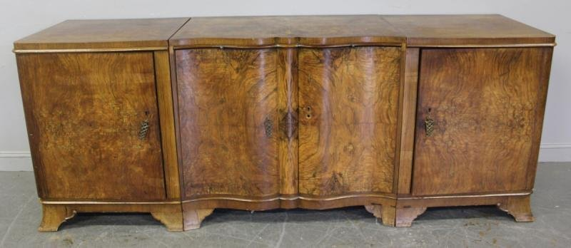 121: Art Deco Burled Walnut 3 Piece Cabinet.