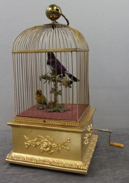 189: 2 Bird Automaton in Giltwood and Gilt Metal Cage.