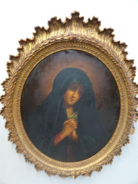 "49: 19th C O/C ""Madonna in Sorrow"" After Giovanni"