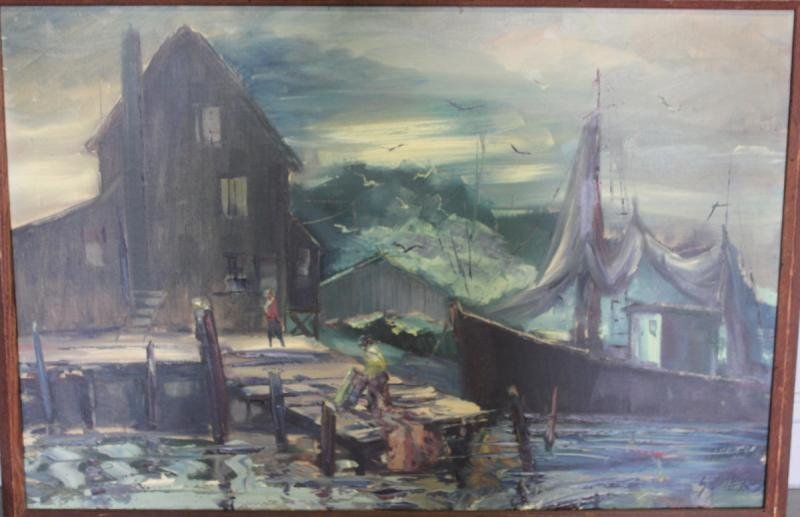 51: SOBOSSEK, Stanley. Oil on Canvas Harbor Scene.