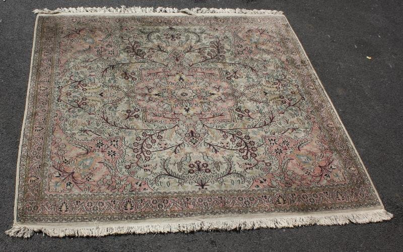 57: Oriental Scatter Carpet with Scroll and Bird