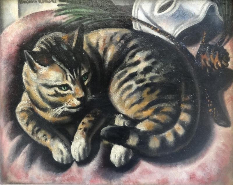 5A: ROMANO, Umberto. Oil on Canvas of a Cat.