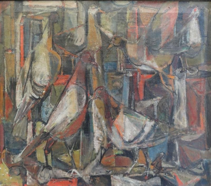 41A: GUTZMER, Alfred. 1960 Modernist O/C of Birds.
