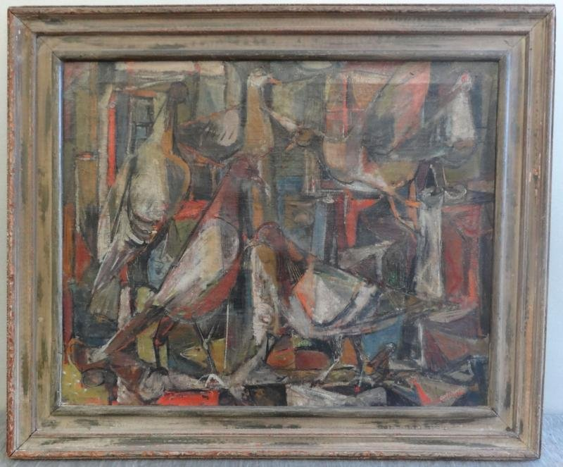 41A: GUTZMER, Alfred. 1960 Modernist O/C of Birds. - 2