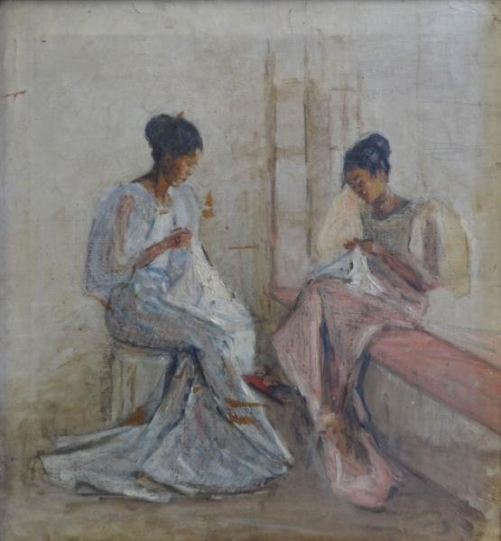 3A: Inscribed 1919 O/C of Asian Women Sewing.