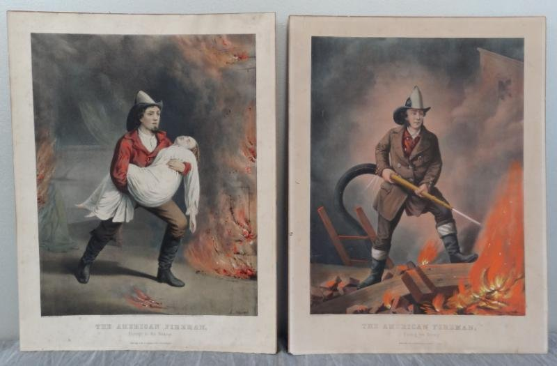 "4: Two Currier & Ives ""The American Fire Man"" Hand"