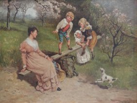 5: NEWELL, Hugh. 1905 O/C of Family on Seesaw.