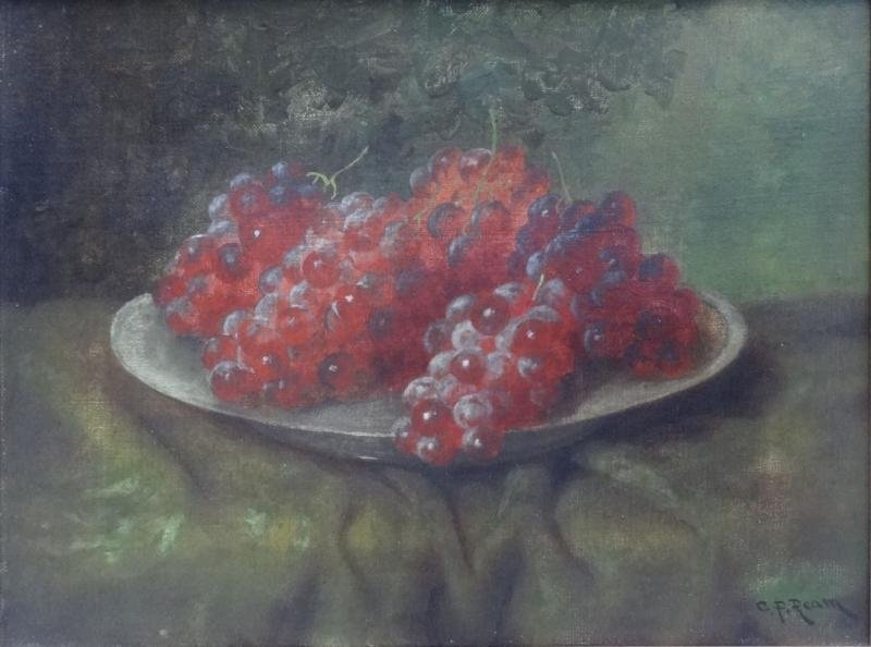 8: REAM, C.P. Oil on Canvas Still Life with Grapes.