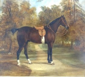 9: 19th Century Oil on Canvas of a Horse.