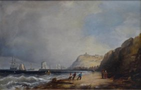 10: YARNOLD, George. Oil on Canvas Coastal Scene with