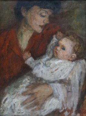 "BLATAS, Arbit. Oil On Canvas ""Mother And Child."""