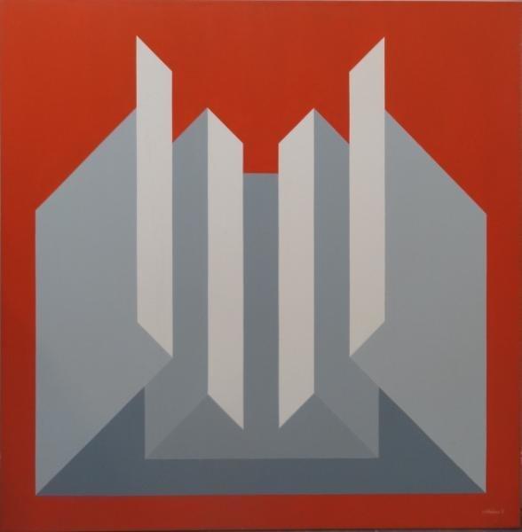 14: GIORDANO. 1975 Geometric Op-Art Oil on Canvas.