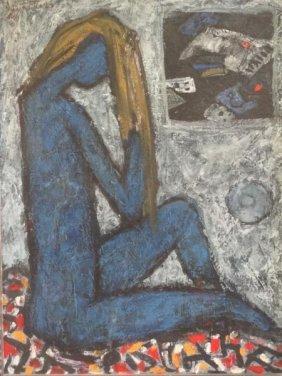 25: PULITIKA, Ðuro. Oil on Masonite of Seated Nude.