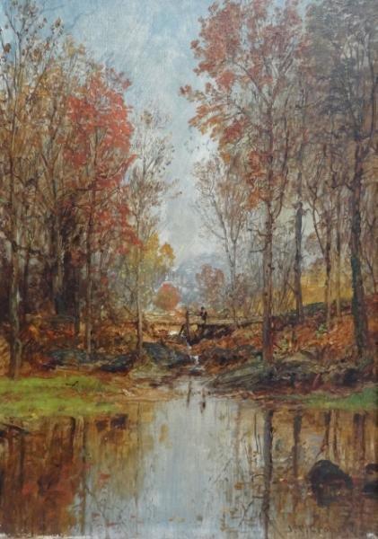 "37: CROPSEY, Jasper F. Oil on Canvas ""Autumn Landscape"