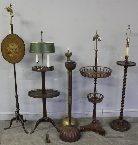 8: Antique Furniture Lamps and Lighting Lot.