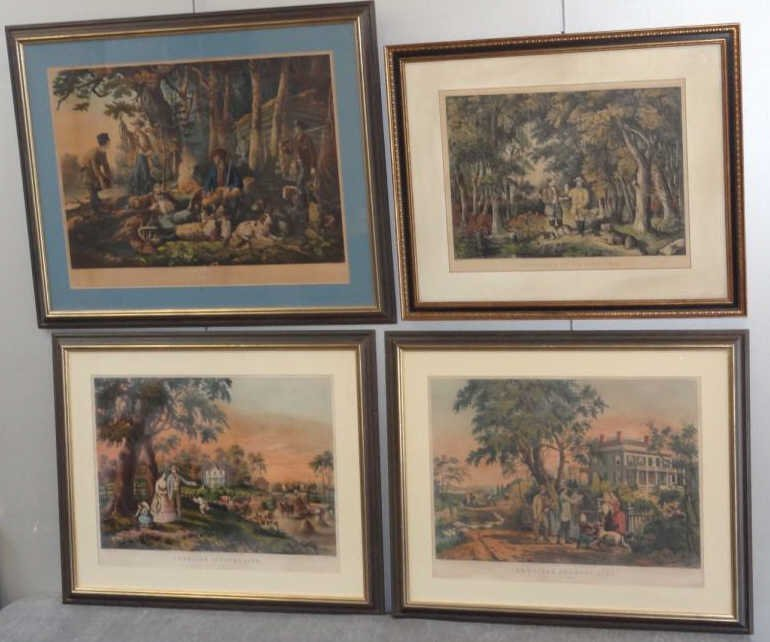 1: 4 Hand-Colored Currier and Ives Lithographs.