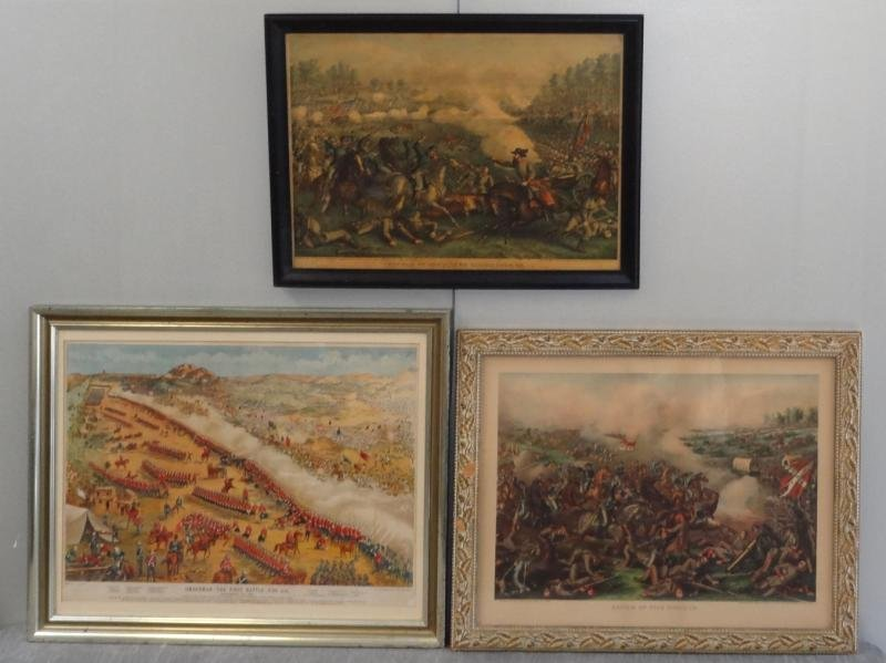 2: 3 Hand-Colored Battle Lithographs.