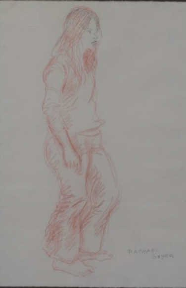 "6: SOYER, Raphel. Sanguine Figure Study. ""Girl in"