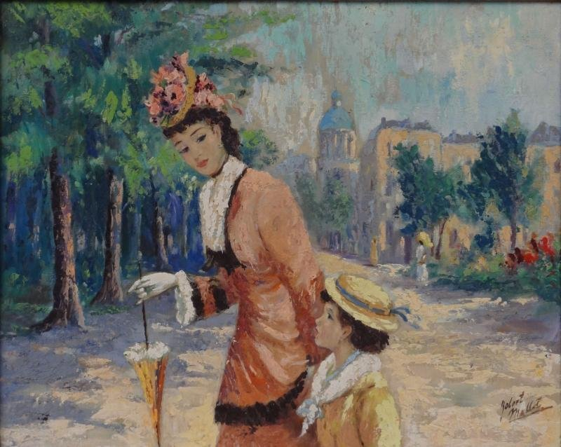 8: Signed Oil/Canvas French Scene with Woman & Child.
