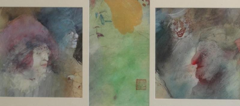 11: MARX, Marsha. Triptych Watercolor of Faces.
