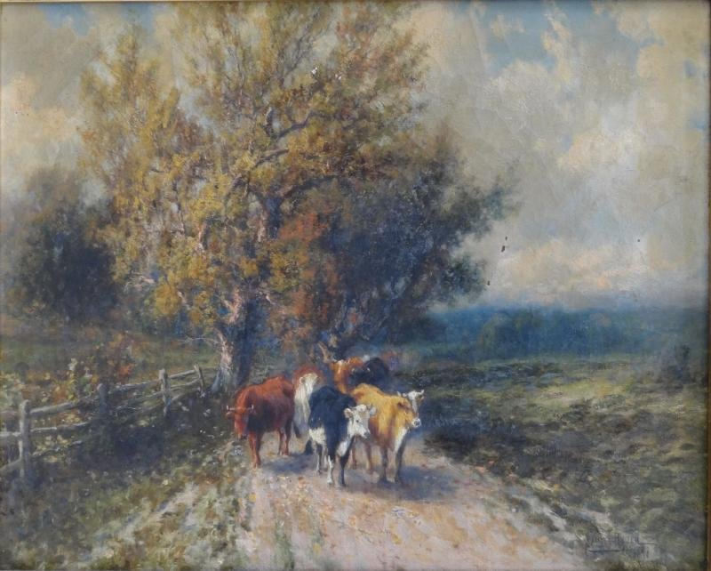 16: RYDER, Samuel. 19th C. O/C of Cows on a Path.