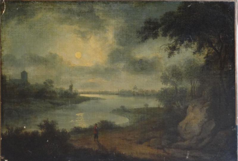 17: Monogrammed 18th C. Oil on Canvas Dutch River