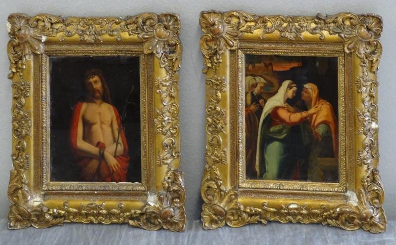 18: Pair of Religious Reverse Glass Paintings.