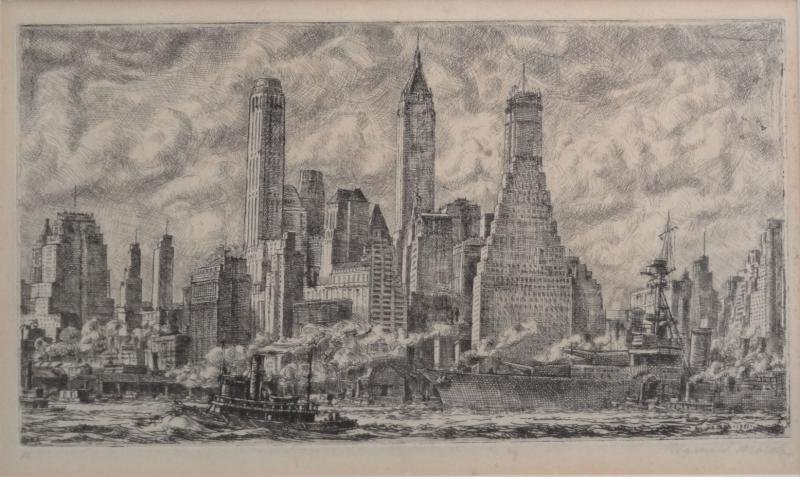 "22: MARSH, Reginald. Etching ""Brooklyn Skyline From"