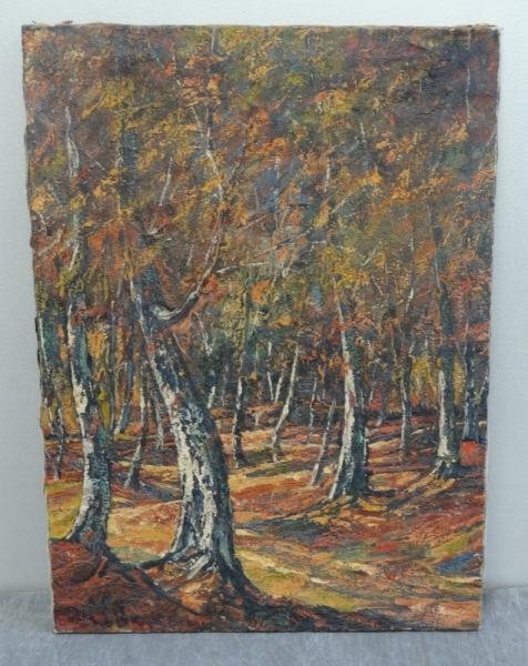 3: Illegibly Signed Oil on Canvas of Birch Trees.