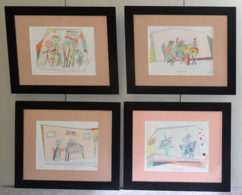 4: Four Initialed Colored Pencil Drawings of Cubist