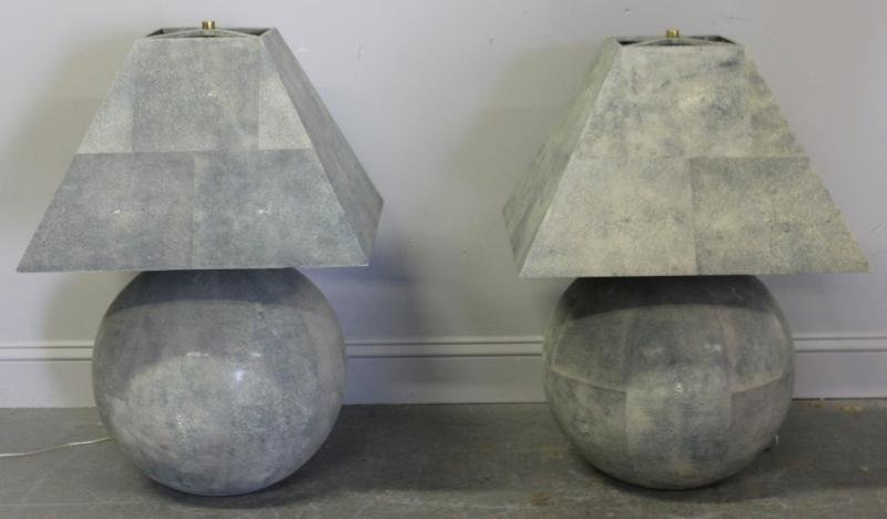 251: Karl Springer? Pair of Shagreen Ball Lamps and