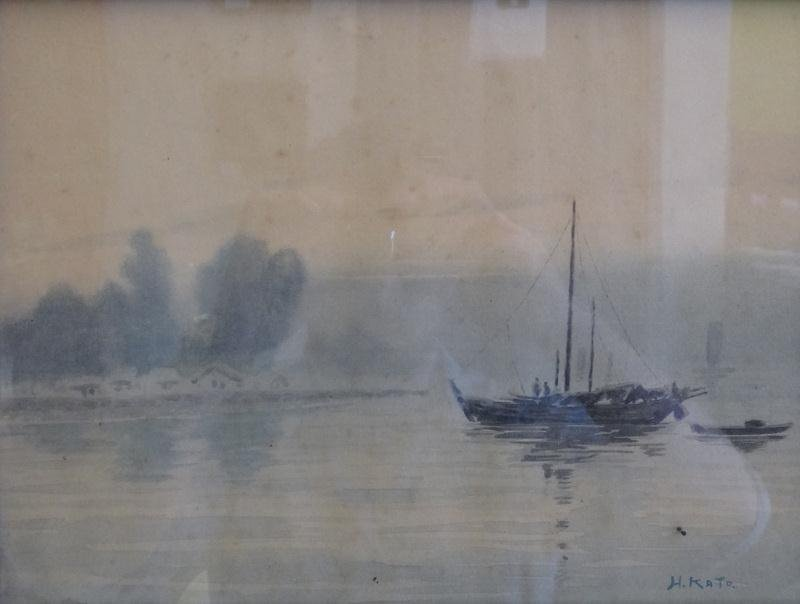 4: KATO, H. Small Watercolor of Boats.