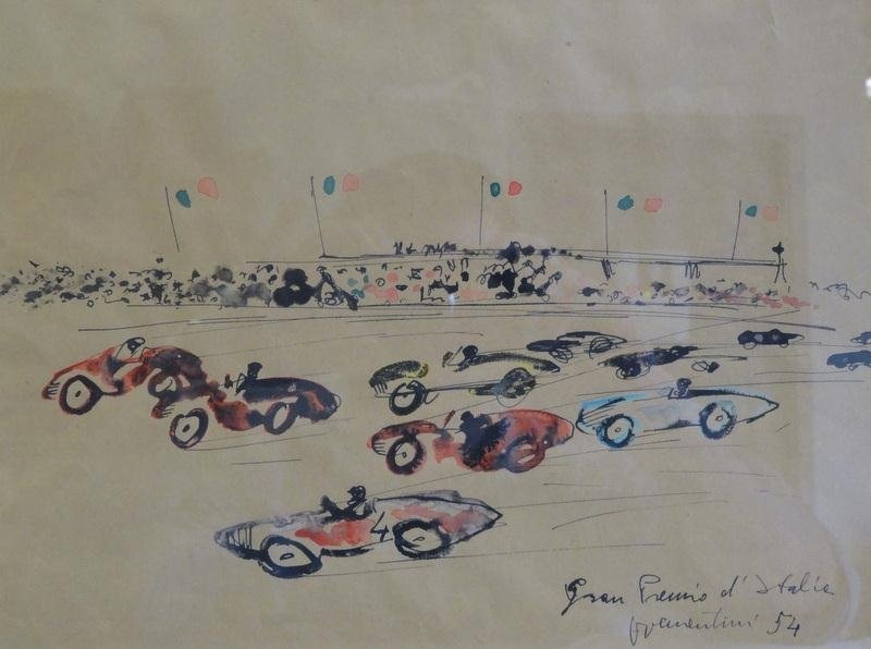 6: 1954 Grand Prix of Italy. Ink & Watercolor.