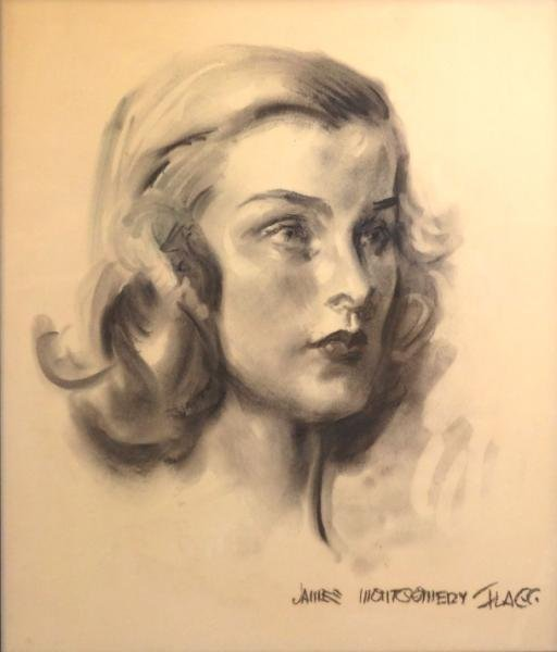 7: FLAGG, James Montgomery. Charcoal Portrait of a