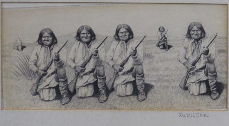 8: DEIHL, Randall. Pencil Drawing of American Indians