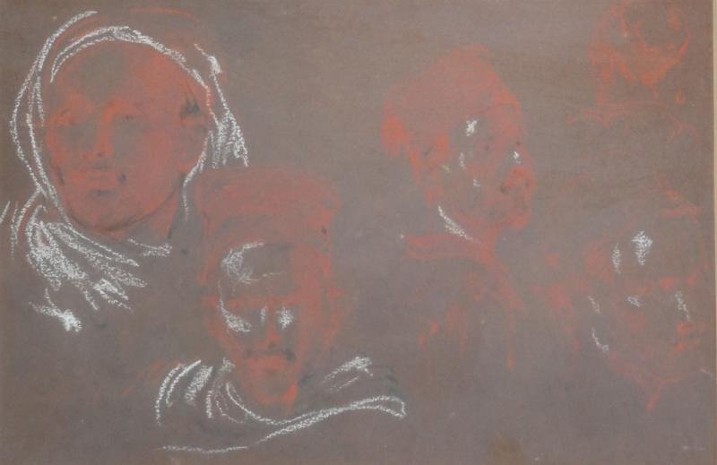 9: Signed Sanguine & Charcoal Study of Faces.
