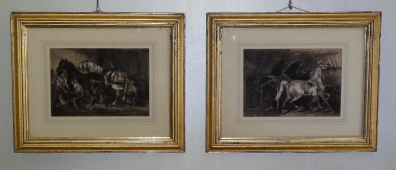 13: Pair of Antique Chalk Drawings of Horses.