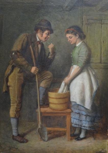16: COOK, Charles H. Oil on Canvas Genre Scene.