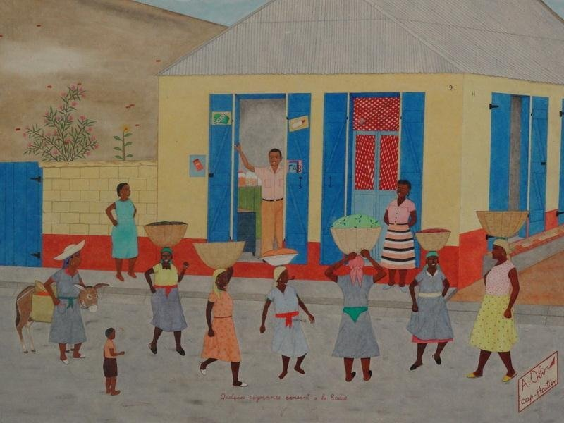 18: OBIN, A. Oil on Masonite Haitian Village Scene.