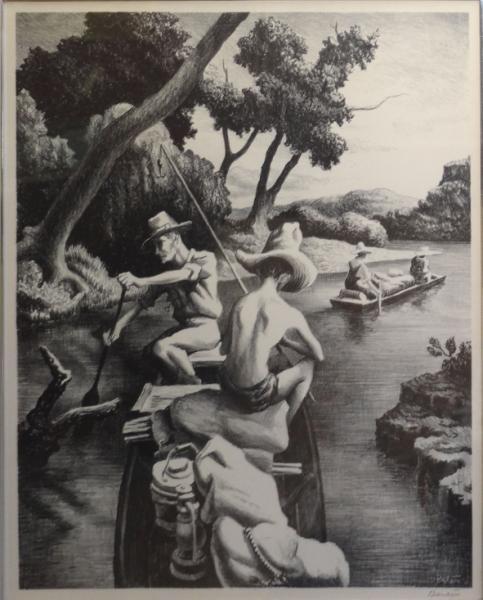 "22: BENTON, Thomas Hart. Lithograph ""Down the River."""