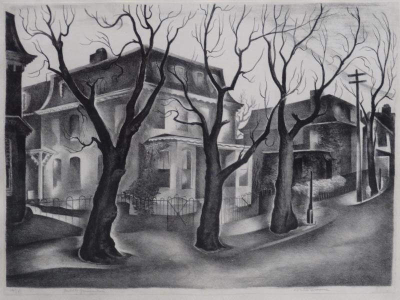 """24: SPRUANCE, Benton. Lithograph """"Middle Germantown."""""""