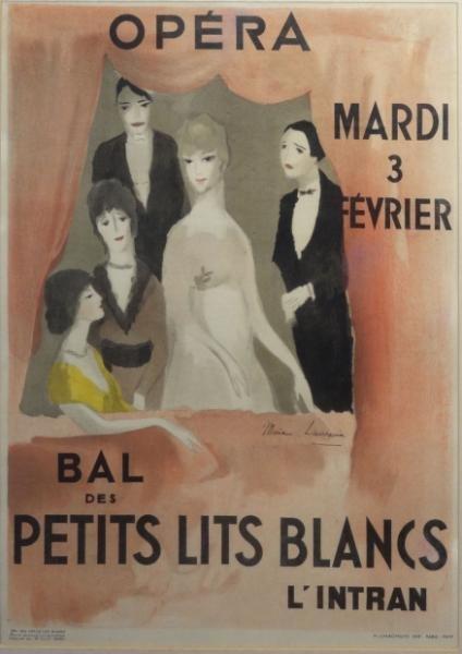 "59: LAURENCIN. Lithograph Poster ""Bal Des Petits Lits"