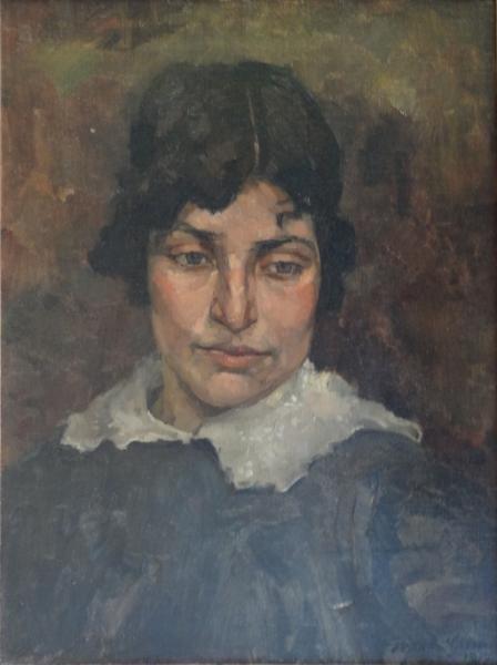 66: GRIMM, Arthur. 1912 Oil on Canvas Portrait.