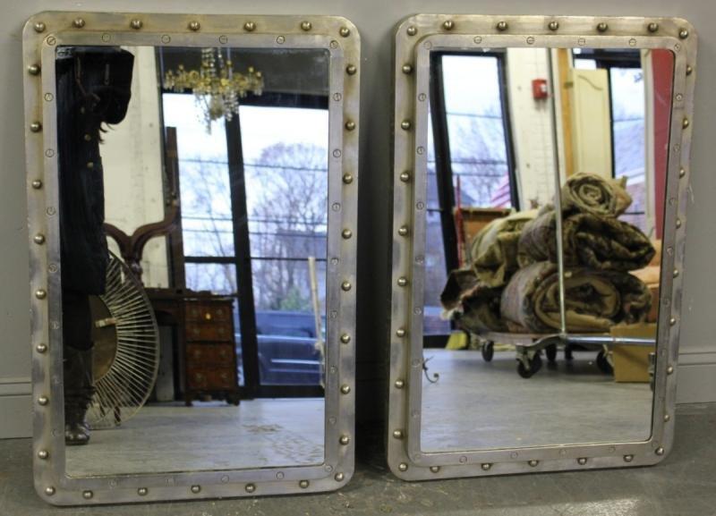 265: Pair of Steel Industrial Style Mirrors.